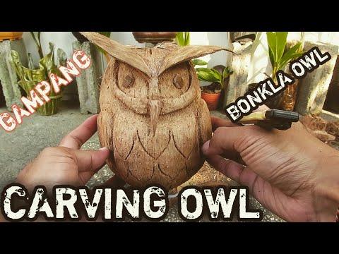 Cara Mudah Ukir Sabut Bonsai Kelapa Model Owl Burung Hantu Youtube