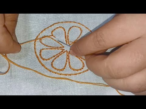 Hand Embroidery : cushion cover , bed sheet design simple tutorial for beginner. thumbnail