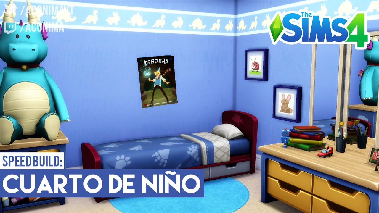 Sims 4 speed build cuarto de ni o azul youtube for Decoracion para pared de recamara