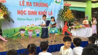 Lê Bảo Ngọc, lớp Lá 2 đọc bài phát biểu cảm nghĩ ra trường 2014-2015