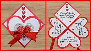 Hermosa tarjeta para el día de la madre   Manualidades para San Valentín   Tarjeta para el 9 de Mayo
