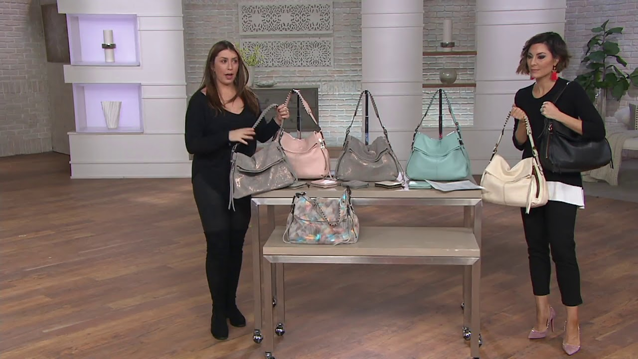 fd466ed3838 Aimee Kestenberg Double Entry Leather Hobo - Penelope on QVC - YouTube