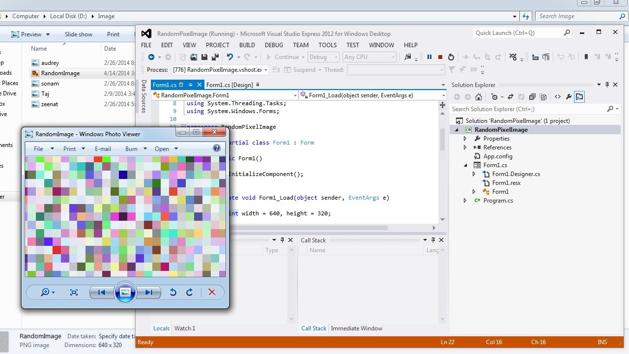 Visual Studio | Create a random pixel image in C#