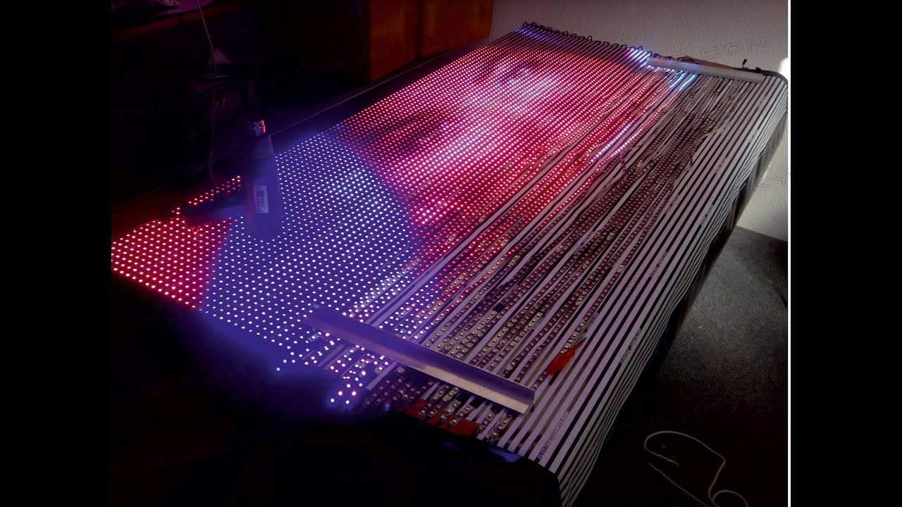 How to build your own flexible led display xxl ws2811 real time how to build your own flexible led display xxl ws2811 real time video transmission 2mx15m cortina youtube solutioingenieria Images