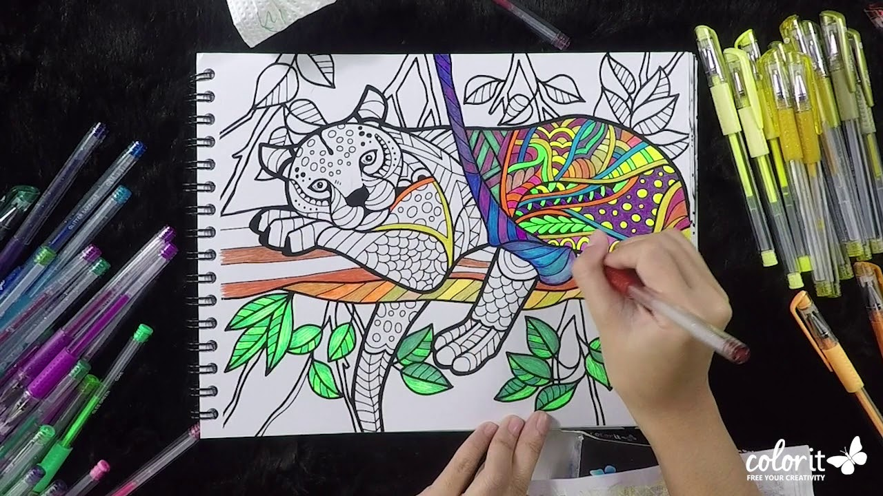 Freebie Friday Cheetah Timelapse - Colored using ColorIt Gel Pens and  Glitter Pens
