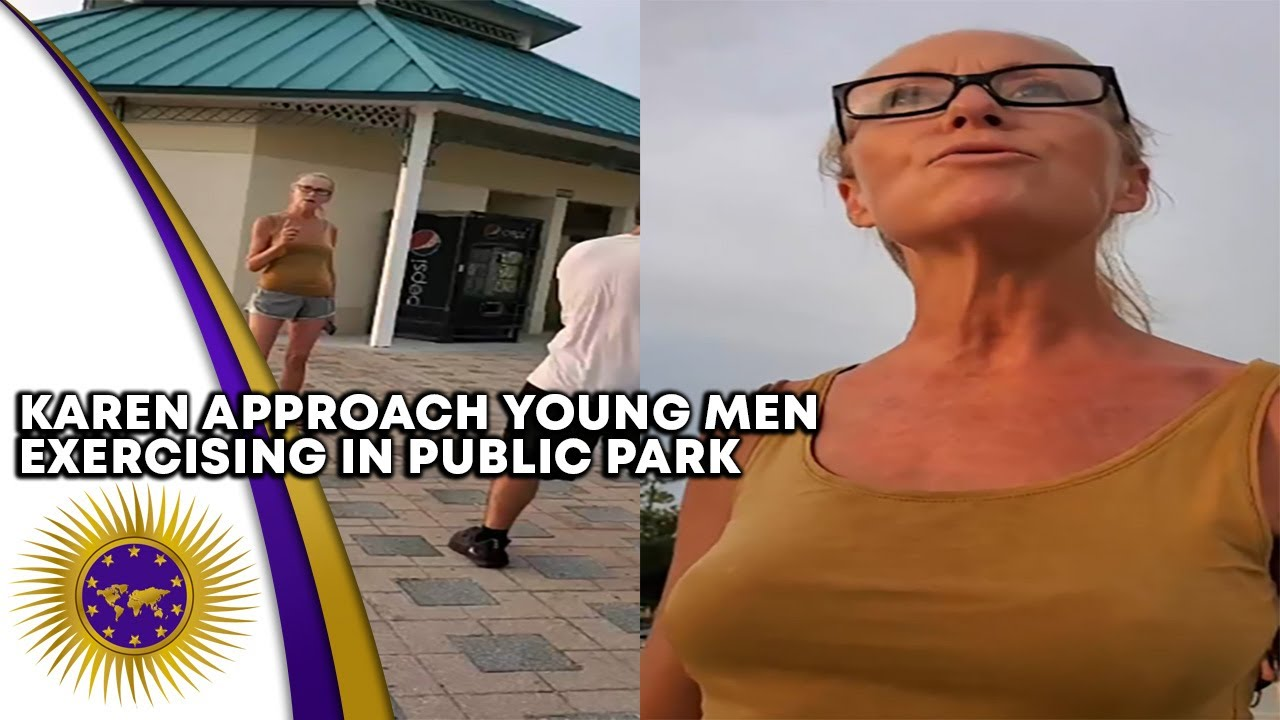 Karen Approach Young Men Exercising In Public Park Annoying Them For No Reason