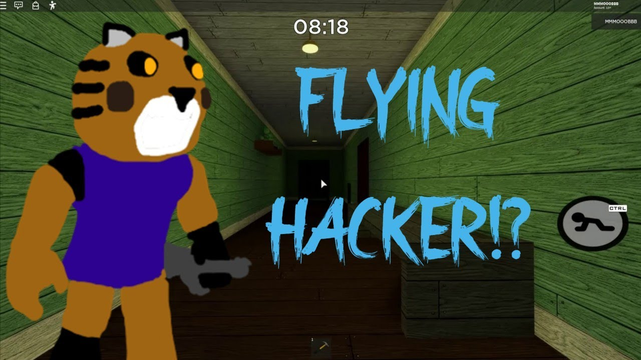 I Tricked A Flying Hacker In Roblox Piggy Youtube