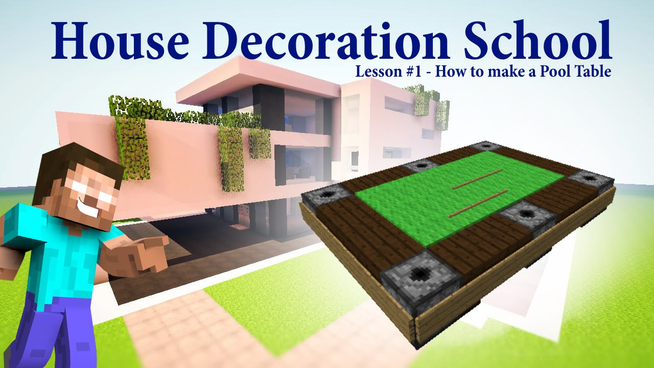 Minecraft pool table house decoration school lesson 1 youtube