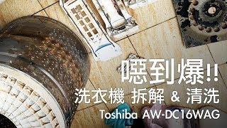噁到爆!! 洗衣機拆解清洗DIY Toshiba AW-DC16WAG [OMG CRAFTS]