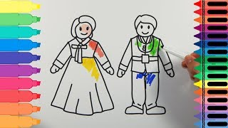 How to Draw South Korea Traditional Dress Hanbok - Drawing clothes coloring pages | Tanimated Toys