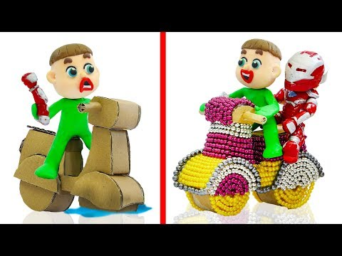 SUPERHERO BABY BUILDS MAGNETIC BIKE 💖 Stop Motion Cartoons Animation