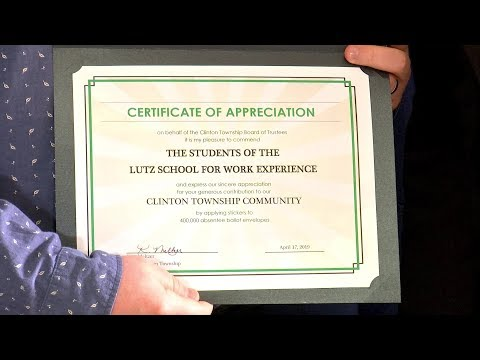 Clinton Currents: Lutz School For Work Experience - Certificate of Appreciation
