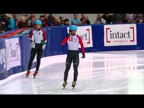 Charles Hamelin / Crashs Men`s 500m (2) Final + interview  - Short Track Speed Skating Toronto