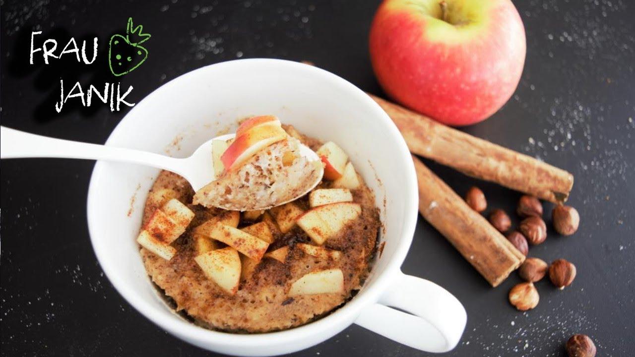Tassenkuchen Mug Cake Fur Die Mikrowelle Apfel Zimt Vegan