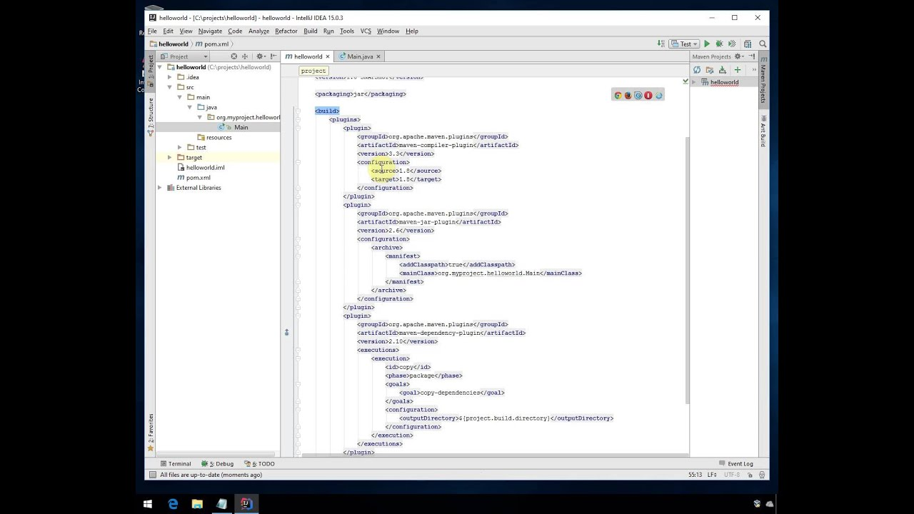 How to install JDK 8 and Intellij Idea 15 and create a simple project using  Maven 3