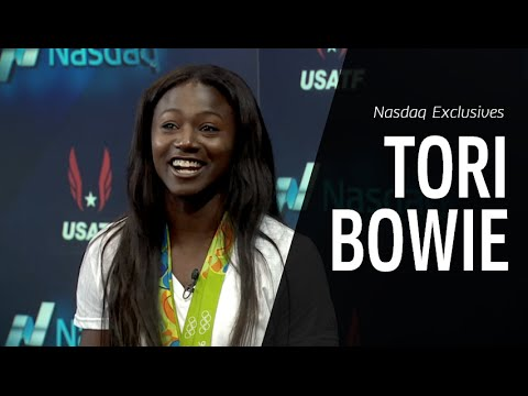 Olympic Gold Medalist Tori Bowie stops by Nasdaq