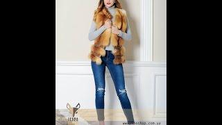 Короткий меховой жилет-лиса с кожаным корсетом(Интернет-магазин женской меховой одежды
