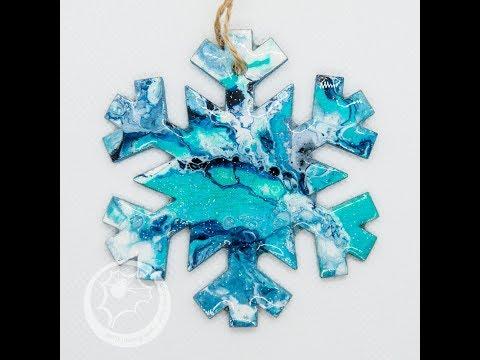 (92) Pretty Blue Acrylic Pour/Dip Christmas Ornaments!!