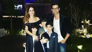 Hrithik Roshan With Ex Wife Sussanne Khan And Kids At Her New Store Launch