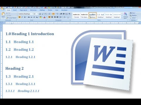 how to create numbered headings in word 2013