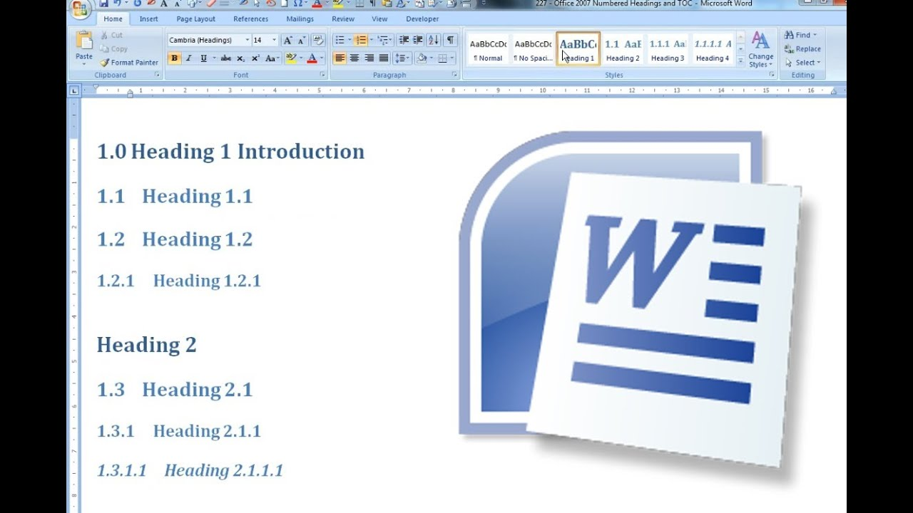 Numbered Headings and Automated Table of Contents Office Word