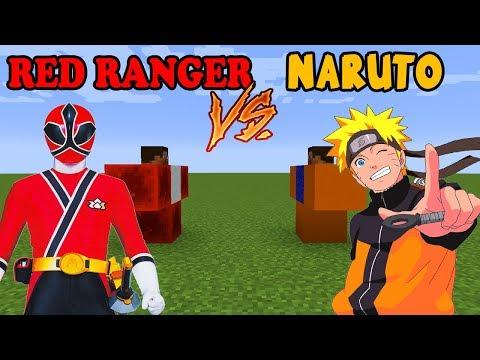 NARUTO vs RED POWER RANGER in Minecraft PE!!!