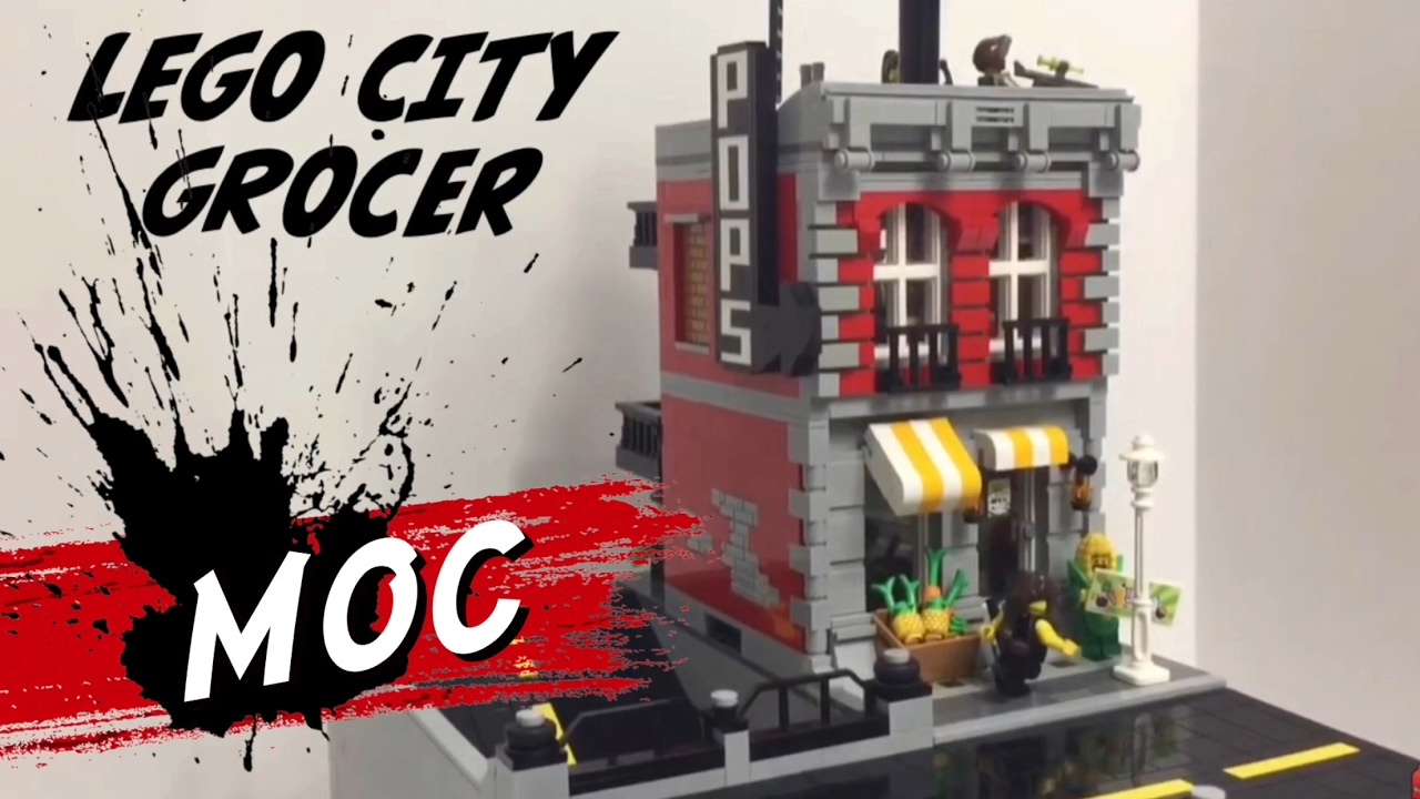 Lego City Update Custom Moc Grocer And Apartment Building Sloped Road Elevated Town