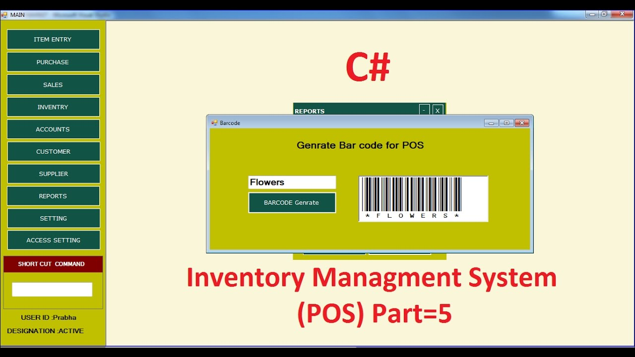C Tutorial Barcode Generate Inventory Management System