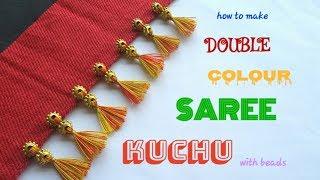 Double Colour Saree Kuchu With Beads(Design#29)