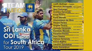 Sri Lanka ODI squad for South Africa series 2019