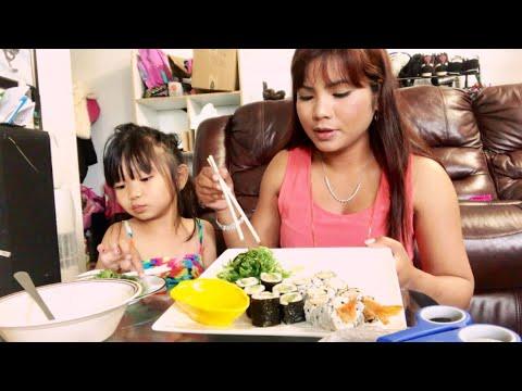 Cuộc sống Canada _Ăn Sushi tôm chiên, sushi Bơ và gỏi Rong Biển