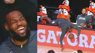 LeBron James Can't Stop Laughing After Embarrassing Himself Trying To Save Ball!