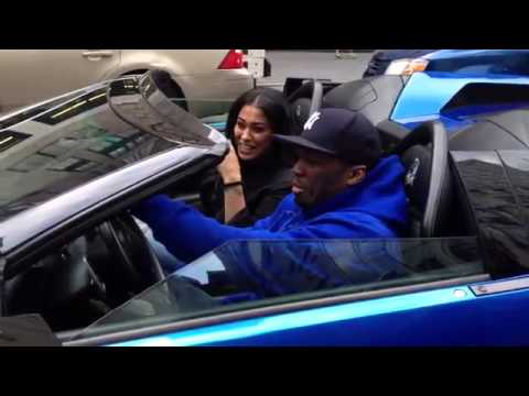 50 Cent Spotted Riding Around NYC In His Blue Lambo
