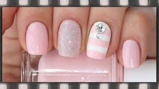 Полосатый маникюр для начинающих в розовых тонах | Pink Stripe Nails!