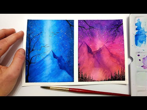 EASY watercolor mountain tutorial for BEGINNERS watercolor painting space | Watercolor Wednesday #10