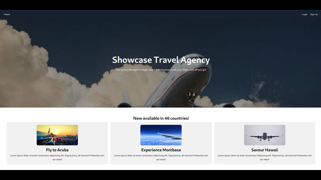 ReactJs Simple Travel Agency Landing Page