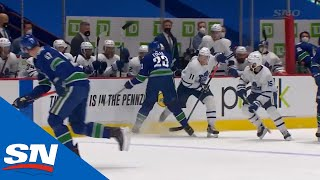 Alex Edler Gets Major And Game Misconduct For Kneeing Zach Hyman, Who Leaves Game