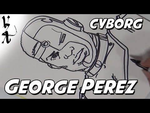 George Perez drawing Cyborg