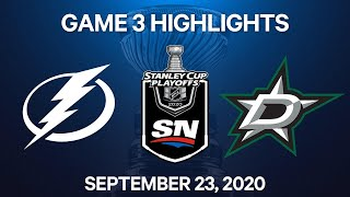 NHL Highlights | Stanley Cup Final, Game 3: Lightning vs. Stars – Sep. 23, 2020