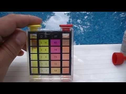 How to test swimming pool water chlorine and ph level with for Pool chemical show urine