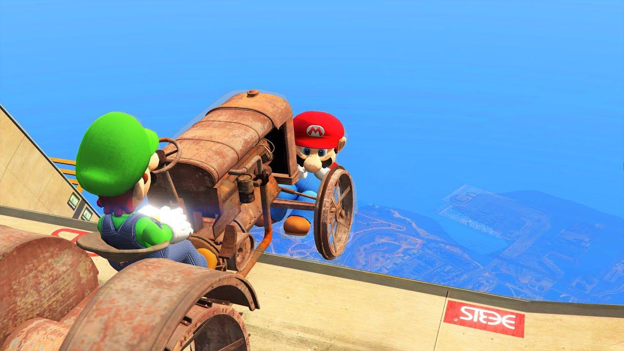 Super Mario & Luigi in GTA 5 Ragdolls Ramp Compilation Episode 2 [Euphoria Physics]