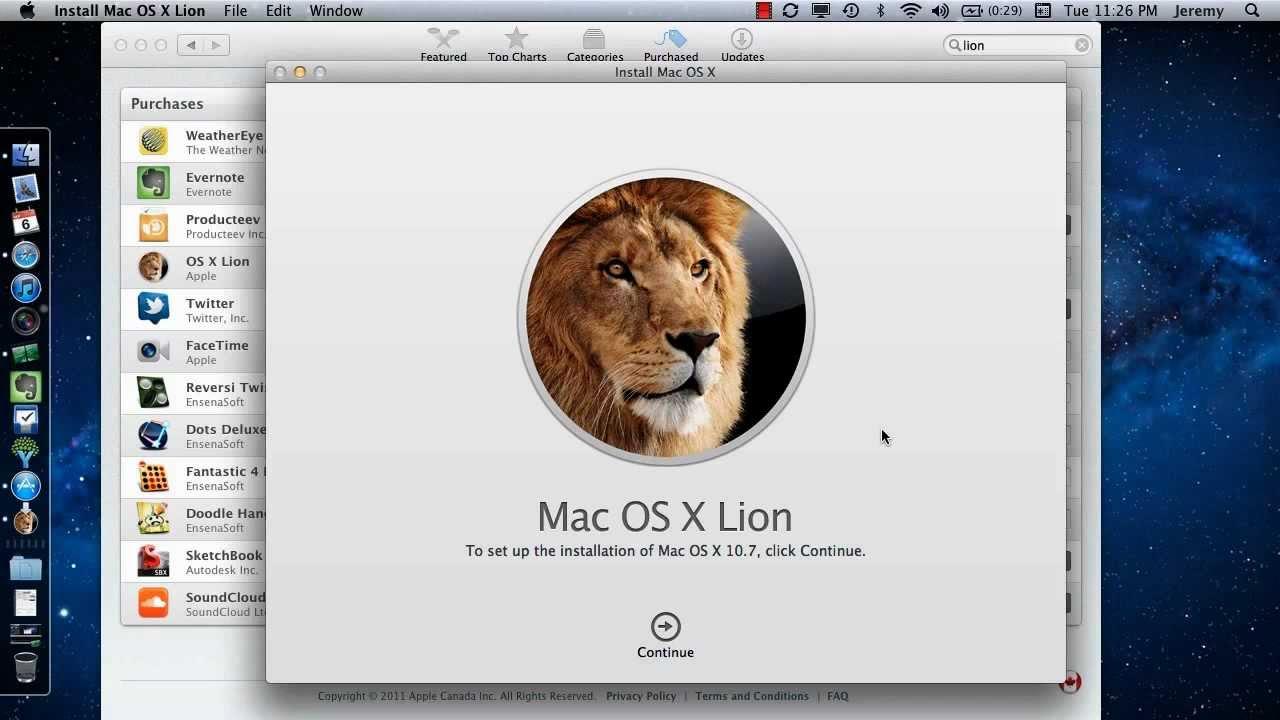 Mac os x lion download installer