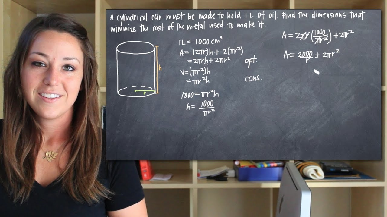 Dimensions that minimize the surface area of a cylinder (KristaKingMath)