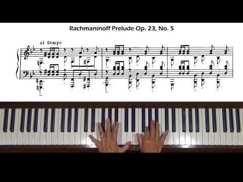 Rachmaninoff Prelude Op. 23, No. 5 Piano Tutorial Part 2 (with score)