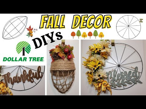 Fall Wreaths from Dollar Tree Bicycle Wheel and Football forms - Autumn Harvest Home Decor thumbnail