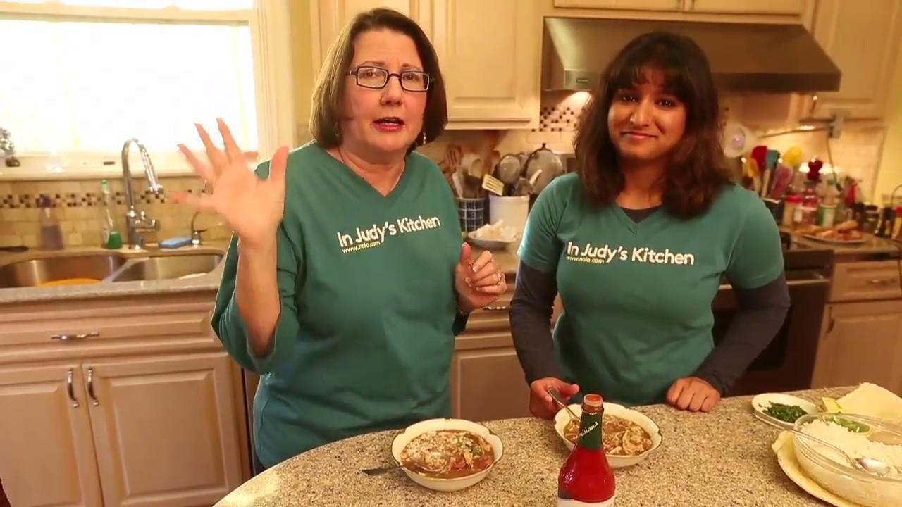 making chicken and sausage gumbo in judys kitchen - Judys Kitchen 2