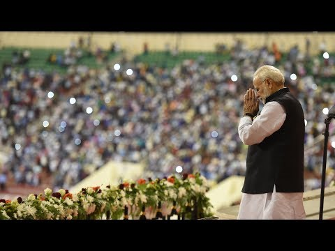 PM Narendra Modi addresses Indian diaspora at the Sultan Qaboos Sports Complex in Muscat, Oman