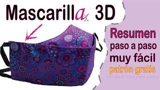 Mascarilla 3D . Resumen paso a paso muy fácil. Patrón gratis. DIY. Recomendación facemask