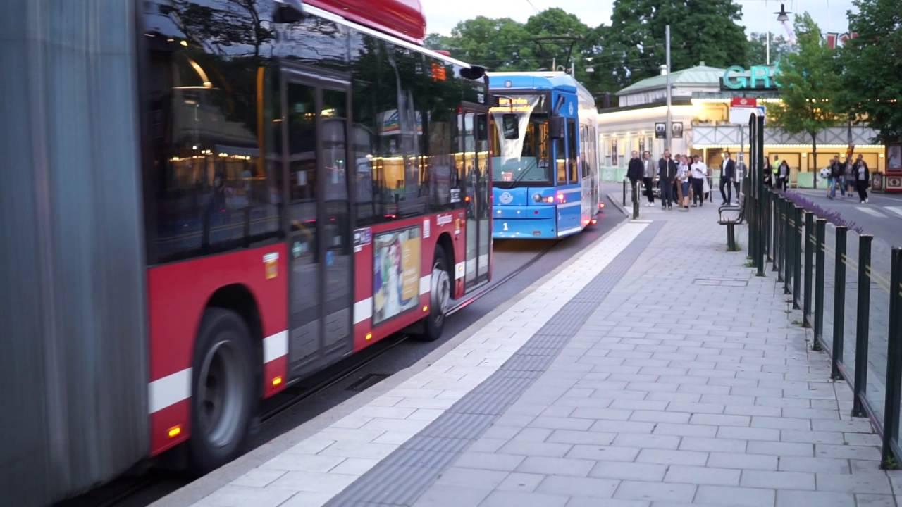 Sweden, Stockholm, public transport, riding with tram numbr 7 from  Kungsträdgården to Gröna Lund