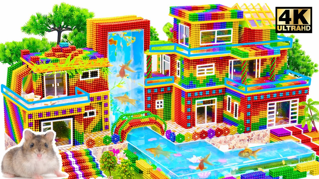 Build The Highest Fish Tank Ever For Minecraft Summer Hacks Mansion From Magnetic Balls
